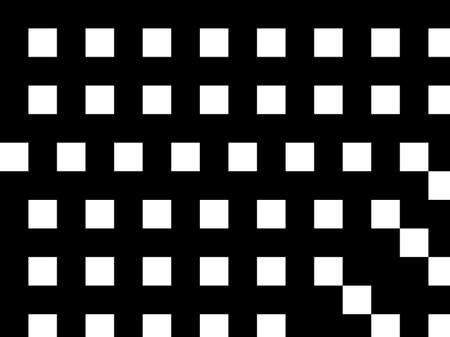 Black and white geometric background with lines, squares, rectangles. Abstraction. Minimal design. Optical illusion. Vector illustration