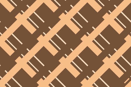 Traditional ornament with cells, squares for printing on fabric, textiles, home interior with different shades of brown, beige, pink. Seamless pattern. Background with intersecting straight lines