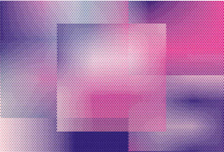 Abstract futuristic halftone panel. The background with dots, points of different shades of pink and violet color and small and big scale. Digital gradient. Vector illustration