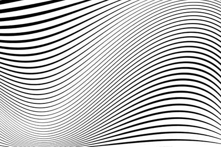 Abstract pattern.  Texture with wavy, billowy lines. Optical art background. Wave design black and white. Digital image with a psychedelic stripes. Vector illustration 向量圖像