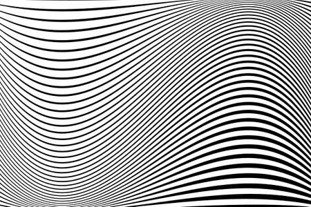 Abstract pattern.  Texture with wavy, billowy lines. Optical art background. Wave design black and white. Digital image with a psychedelic stripes. Vector illustration  イラスト・ベクター素材