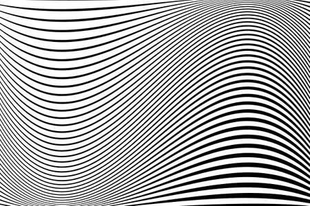 Abstraktes Muster. Textur mit welligen, wogenden Linien. Optischer Kunsthintergrund. Wellendesign schwarz und weiß. Digitales Bild mit psychedelischen Streifen. Vektor-Illustration