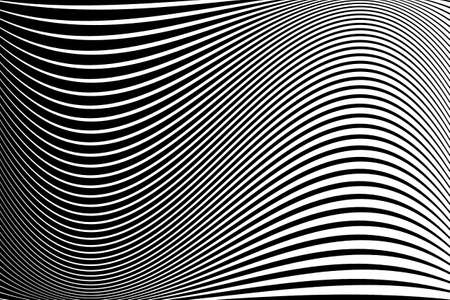 Abstract pattern.  Texture with wavy, billowy lines. Optical art background. Wave design black and white. Digital image with a psychedelic stripes. Vector illustration Иллюстрация
