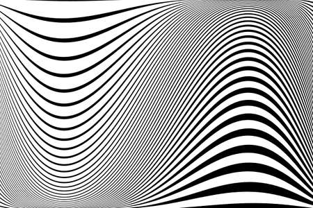 Abstract pattern. Texture with wavy, billowy lines. Optical art background. Wave design black and white. Digital image with a psychedelic stripes. Vector illustration