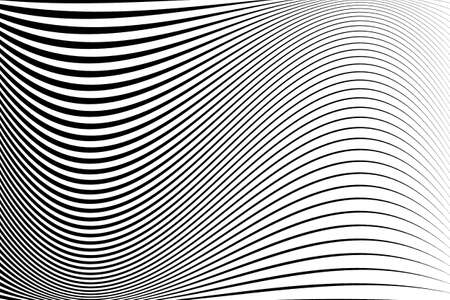 Abstract pattern.  Texture with wavy, billowy lines. Optical art background. Wave design black and white. Digital image with a psychedelic stripes. Vector illustration Ilustracja