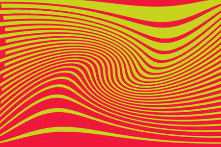 Optical art background Glitch abstract pattern Curve Random Chaotic Lines Modern, Contemporary Art Illustration with Red and yellow Striped Lines Bright background with Wavy, Curving Distortion Effect  イラスト・ベクター素材