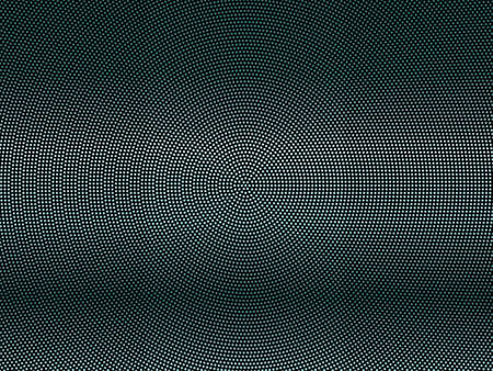 Elegant black background with shining, glowing circles, dots. Halftone effect. Dark green-blue glitter texture. Vector illustration. Neon, led abstract pattern of lights and bokeh