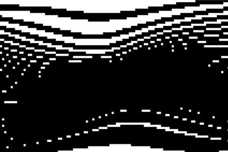 Pattern with glitches. Geometric abstraction with pixel art elements. Grunge background. Scalable vector graphics. Black and white. Illustration