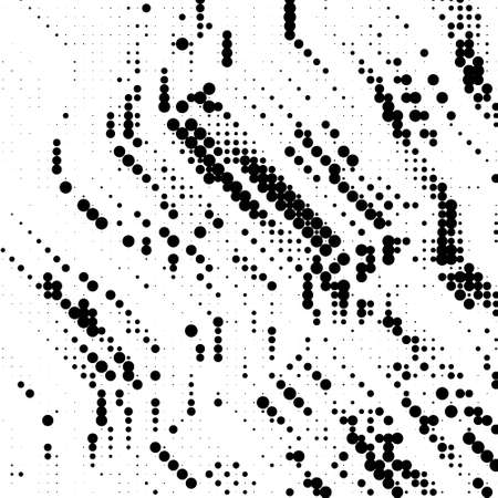 Grunge halftone pattern. Pointillism, stipplism style. Textured background with dots, circles, Points of different scale. Scalable vector graphics. Illustration