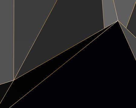Black and grey Premium background with luxury polygonal pattern and gold triangle lines. Low poly gradient shapes luxury gold lines vector. Rich background, premium triangle polygons design