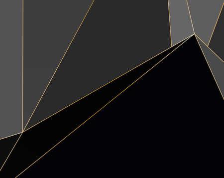 Sfondo Premium nero e grigio con motivo poligonale di lusso e linee triangolari dorate. Vettore di linee d'oro di lusso di forme di gradiente di poli basso. Sfondo ricco, design premium di poligoni triangolari