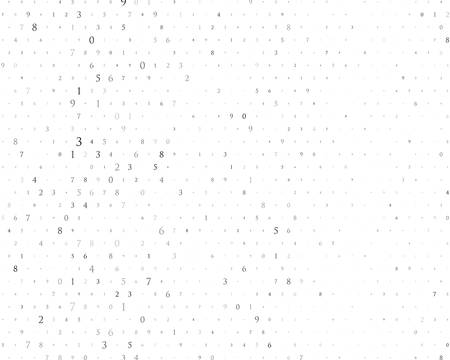 Random numbers 0 and 9. Background in a matrix style. Binary code pattern with digits on screen, falling character. Abstract digital backdrop. Vector illustration Different shades of grey Illustration