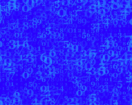 Random numbers 0 and 9. Background in a matrix style. Binary code pattern with digits on screen, falling character. Abstract digital backdrop. Vector illustration Blue color