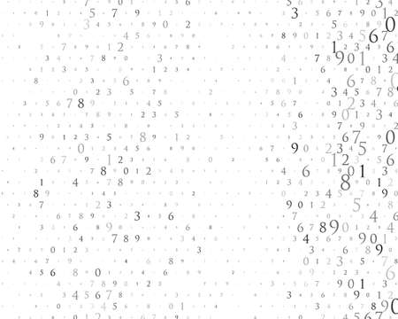Random numbers and 9. Background in a matrix style. Binary code pattern with digits on screen, falling character. Abstract digital backdrop. Vector illustration Different shades of grey