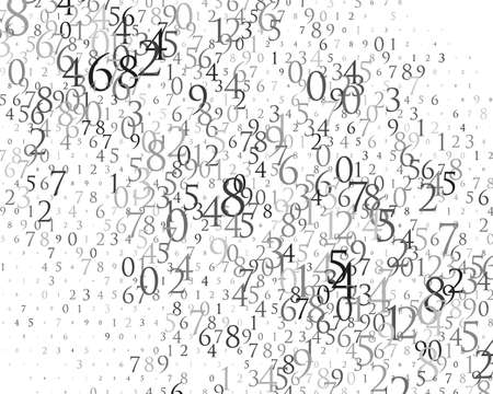 Random numbers 0 and 9. Background in a matrix style. Binary code pattern with digits on screen, falling character. Abstract digital backdrop. Vector illustration Different shades of grey Иллюстрация