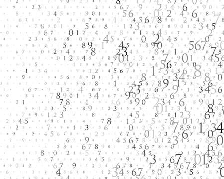 Random numbers 0 and 9. Background in a matrix style. Binary code pattern with digits on screen, falling character. Abstract digital backdrop. Vector illustration Different shades of grey Illusztráció