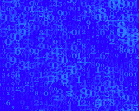 Random numbers and 9. Background in a matrix style. Binary code pattern with digits on screen, falling character. Abstract digital backdrop. Vector illustration Blue color