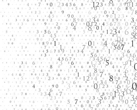 Random numbers 0 and 9. Background in a matrix style. Binary code pattern with digits on screen, falling character. Abstract digital backdrop. Vector illustration Different shades of grey Ilustração