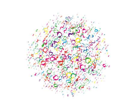 Patrón de festival con purpurina redonda de color, confeti, serpentina. Fondo brillante para invitaciones a fiestas, bodas, tarjetas, fondos de pantalla del teléfono. Ilustración vectorial. Diseño tipográfico.