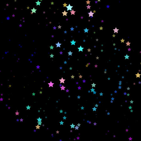 Bright neon pink, blue, purple stars on a dark background. Scalable vector graphics.
