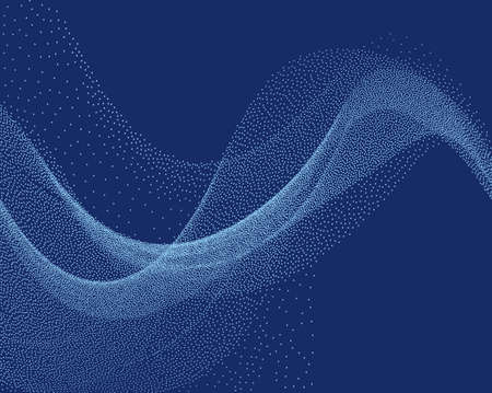 Digital flow wave with little particles in motion. Abstract background with The smoke effect. Motion of smoke with small dots. Vector illustration. Energy, dynamic wave-like design. Vektoros illusztráció