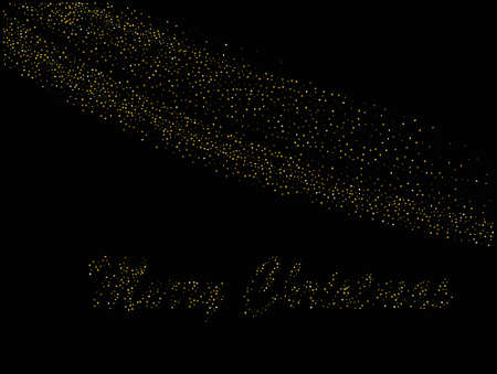 Merry Christmas greeting card. Gold dust on a black background. Small particles, Golden glitter, confetti, sequins in the form of moving waves. Luxury pattern. Vector illustration Stock Illustratie