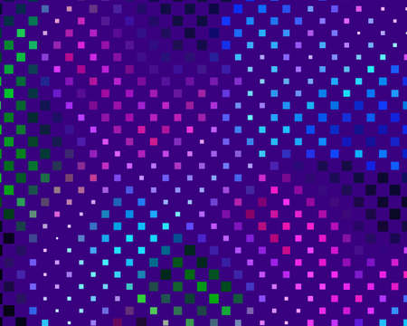 Disco panel. Bright dynamic background with squares. Geometrical figure of different scale neon color. Vector illustration Foto de archivo - 112399838