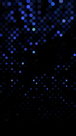 Glowing particles, polka dots on a dark blue background. Vertical festive banner. An elegant holiday pattern. Vector illustration.