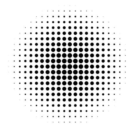 Komischer Hintergrund. Pop-Art-Stil. Muster mit Kreisen, gepunkteter Halbtonhintergrund. Strahlend von der Mitte sternenklare Sonnenpunkte. Design für Web-Banner, Wallpaper, Websites Vektor-Illustration