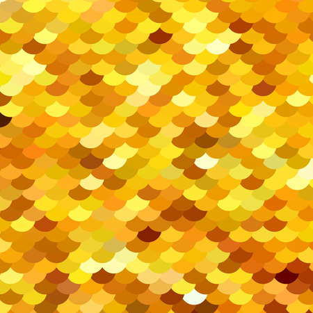 Abstract pattern similar to fish scales or embroidered with sparkles, sequins fabric. Different shades of Golden, yellow. Scalable vector illustration. Illustration