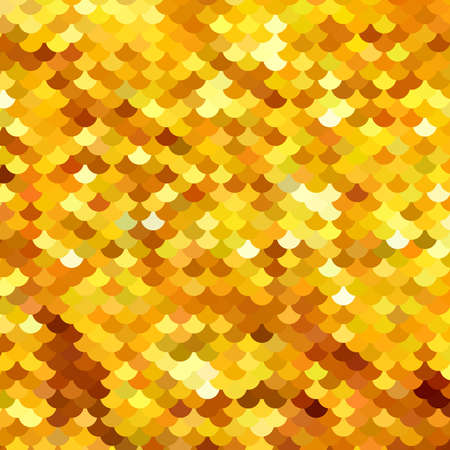 Abstract pattern similar to fish scales or embroidered with sparkles, sequins fabric. Different shades of Golden, yellow. Scalable vector illustration.  イラスト・ベクター素材