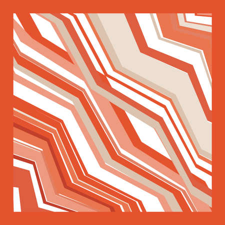Scarf and bandanna design. Fashionable coral color. Geometric print. Vector illustration.