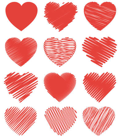 Set of vector icons of hearts to create layouts for Valentines Day or romantic backgrounds. The drawings are made in a simple and in the style of hatching and doodles. Scalable vector graphics Иллюстрация
