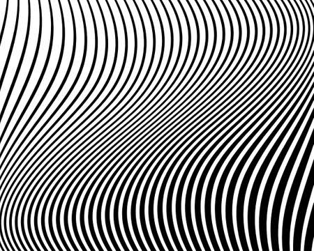 Wavy pattern. Texture with wavy, curves lines. Optical art background. Wave design black and white. Digital image with a psychedelic stripes. Vector illustration