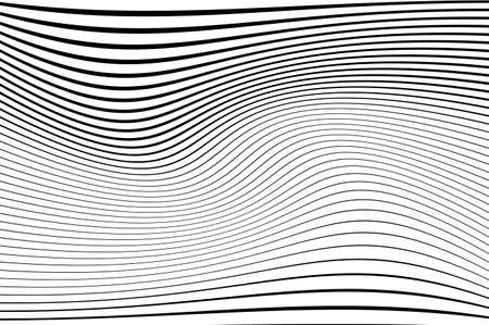 Abstract pattern. Texture with wavy, curves lines. Optical art background. Wave design black and white. Digital image with a psychedelic stripes. Vector illustration