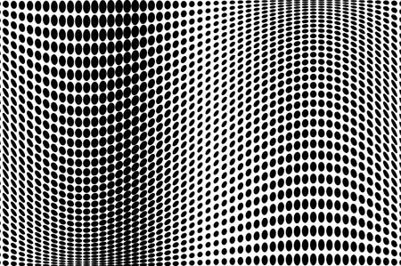 Wave dotted background. Abstract halftone futuristic twisted grunge pattern. Vector illustration black on white