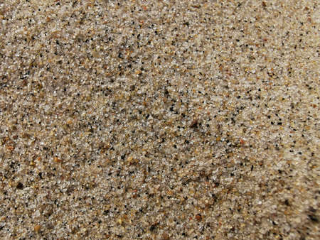 Sand texture close-up. Macrophotography. Small particles of different shades of beige, brown. Natural textured surface. Stock Photo