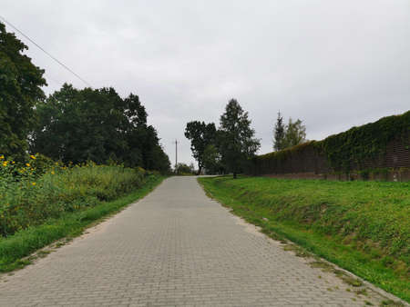 Deserted country road without cars and people. Autumn scene. Stock fotó
