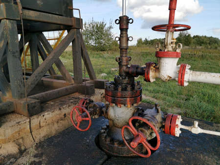 Industry Equipment Close Up, Oilfield, Oil Derrick Фото со стока