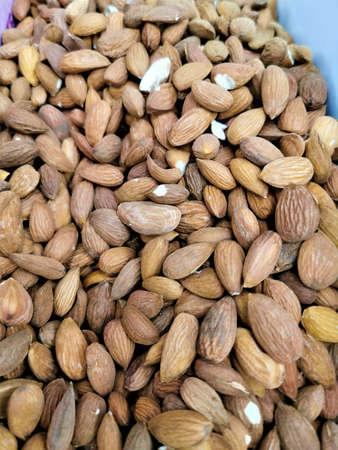 Peeled, roasted almonds, close-up