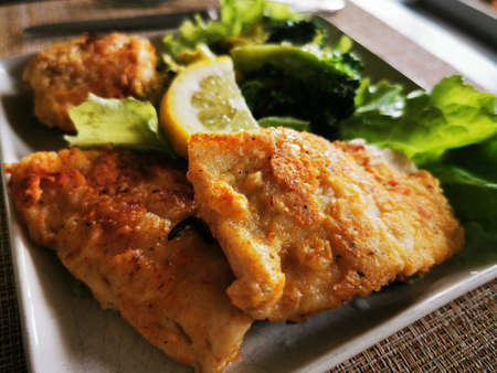 Fried fish. Breaded walleye fillet. Garnish with broccoli and green vegetables. Home dinner. Close-up photo