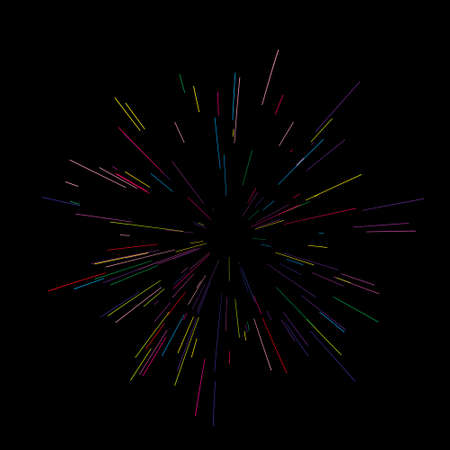 Ilustración colorida del vector de los fuegos artificiales. Estilo dinámico. Explosión abstracta, líneas de movimiento de velocidad desde el medio, irradiando fuerte
