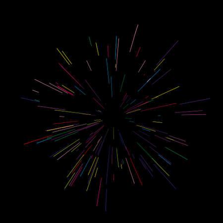 Kleurrijke vuurwerk vectorillustratie. Dynamische stijl. Abstracte explosie, snelheid bewegingslijnen vanuit het midden, scherp uitstralend