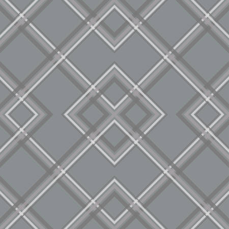 Pattern with the mesh, grid. Seamless vector background. Rhombuses wallpaper. Diamonds motif. Fabric design. Vector illustration. Gray color Illusztráció