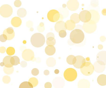 Gelbe, goldene transparente Blasen, Kreise auf weißem Hintergrund. Bokeh-Preset, Designelement zum Erstellen leichter, zarter Muster Vektor-Illustration Vektorgrafik