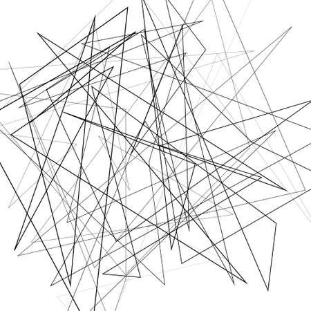 Illustrazione vettoriale in bianco e nero di elemento di design per la creazione di sfondi di arte moderna, modelli. Texture asimmetrica con linee caotiche casuali, motivo geometrico astratto. Stile urbano grunge