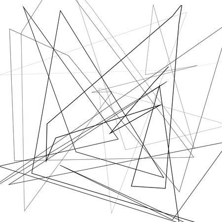 Illustrazione vettoriale in bianco e nero di elemento di design per la creazione di sfondi di arte moderna, modelli. Texture asimmetrica con linee caotiche casuali, motivo geometrico astratto. Stile urbano grunge Vettoriali