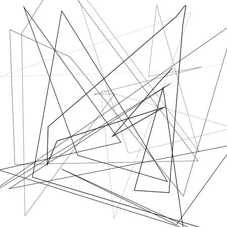 Schwarz-Weiß-Vektor-Illustration des Gestaltungselementes zum Erstellen moderner Kunsthintergründe, Muster. Asymmetrische Textur mit zufälligen chaotischen Linien, abstraktes geometrisches Muster. Urbaner Grunge-Stil Vektorgrafik