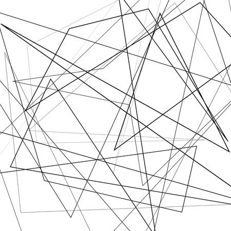 Black and white vector illustration of design element for creating modern art backgrounds, patterns. Asymmetrical texture with random chaotic lines, abstract geometric pattern. Grunge urban style