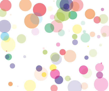 Colorful transparent bubbles, circles on a white background. Bokeh preset, design element to create light, delicate patterns. Vector illustration